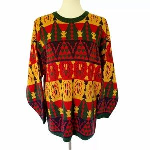 Women's Vintage 90s Funky Crazy Colorful Sweater